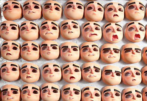 différentes expression du visages pour les figurines