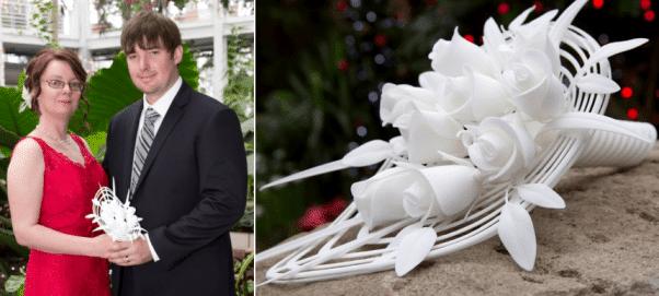un bouquet de marié fabriqué par impression 3D