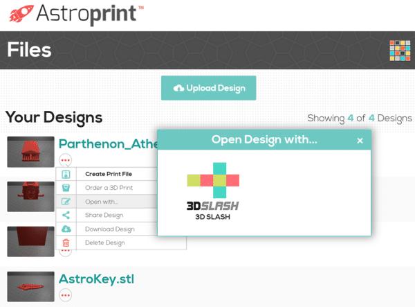 Nouveau partenariat pour 3D Slash qui intègre AstroPrint