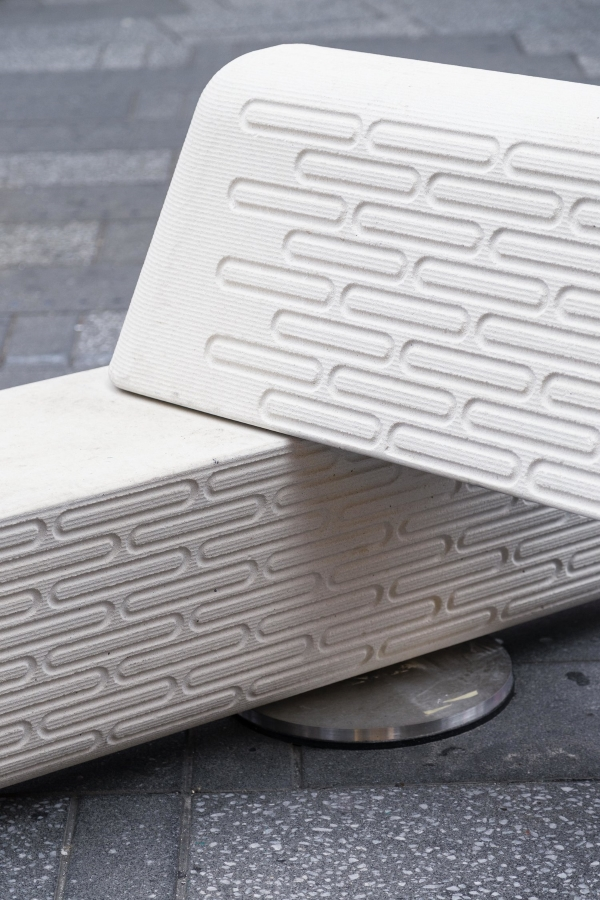 banc monté imprimé en 3D monté sur disques