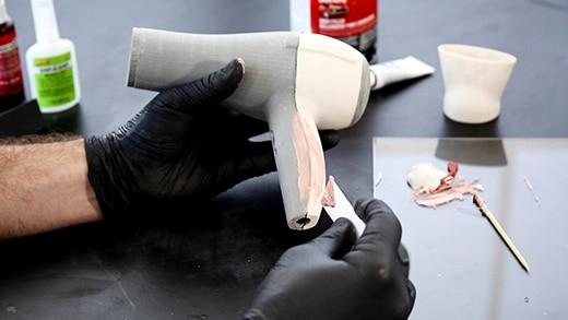 mastic sur pièce imprimée en 3D