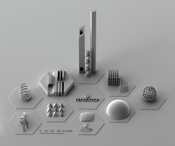 pièces imprimées par Nanoscribe