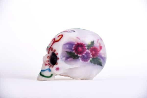 crâne en couleur réalisé par impression 3D