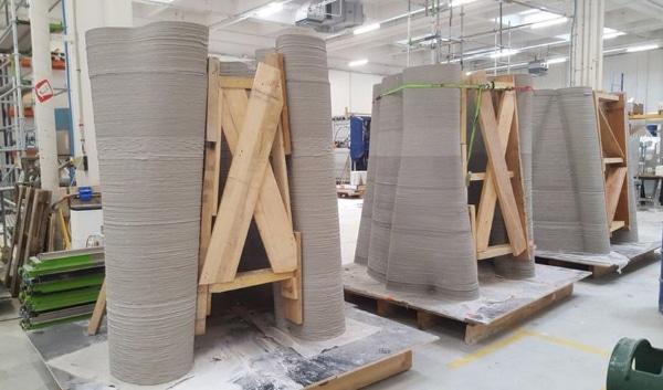 pylône en béton imprimé en 3D