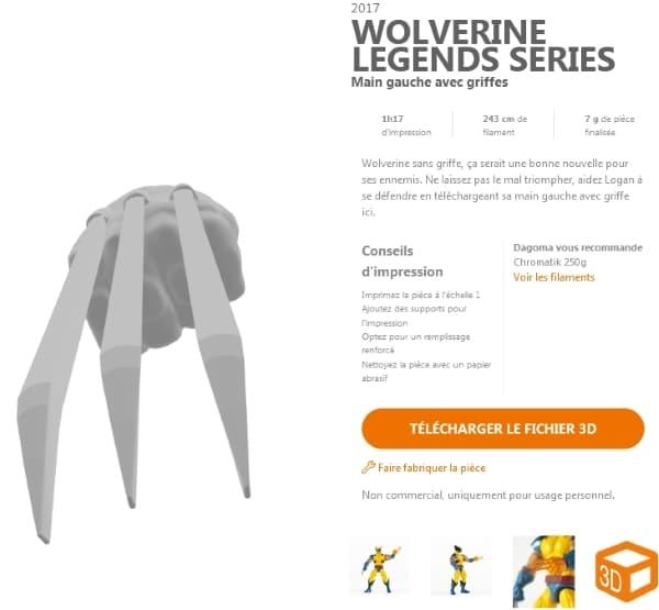 modèle de griffes Wolverine