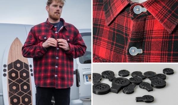 Des boutons de chemise imprimés en 3D à partir de filets de pêche