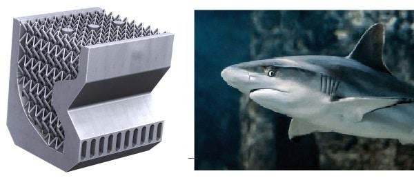 dissipateur thermique imprimé en 3D inspiré de la peau de requin