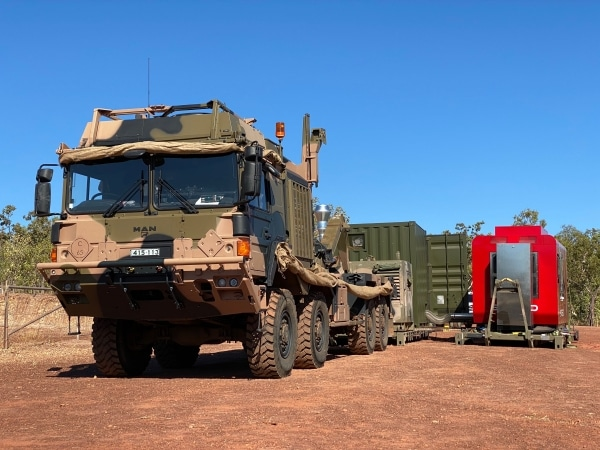 le système SPEE3D a été transporté par camion à travers les Territoires du Nord de l'Australie