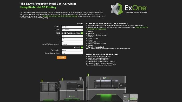 ExOne lance un calculateur en ligne pour estimer les coûts de sa technologie d'impression 3D métal