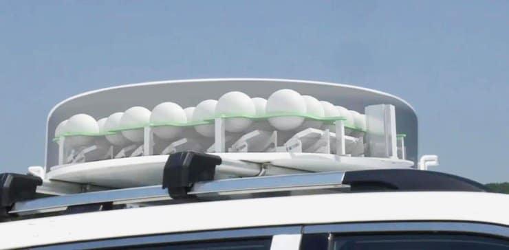 Matrice de lentilles Luneberg imprimée en 3D et installée sur un véhicule de test