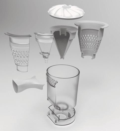 Prototype d'extracteur de poussière transparent imprimé avec la résine Vero Clear de Stratasys