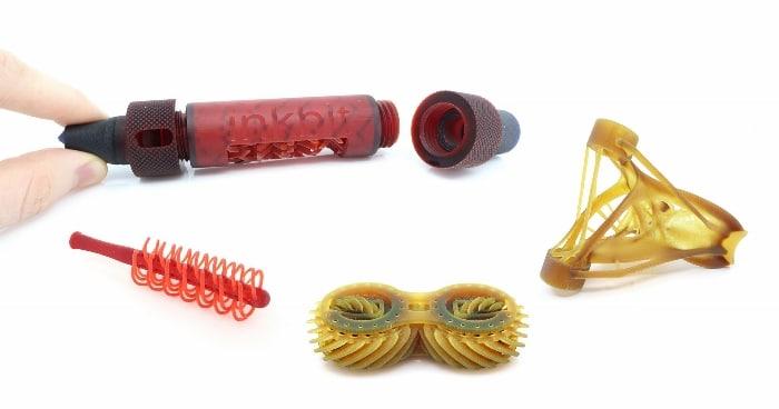 Différents types de matériaux imprimés avec la technologie VCJ d'Inkbit