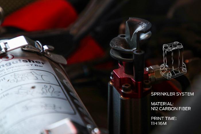 Support de buse imprimé en 3D pour le système d'extinction d'incendie du cockpit