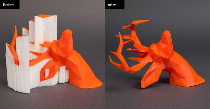 Zoom sur les structures de soutien en impression 3D FDM