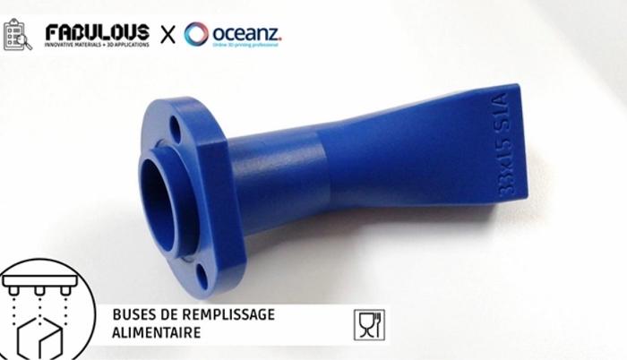 Buses imprimées par OceanZ à partir de la poudre BLUECARE (crédits photo : Fabulous)