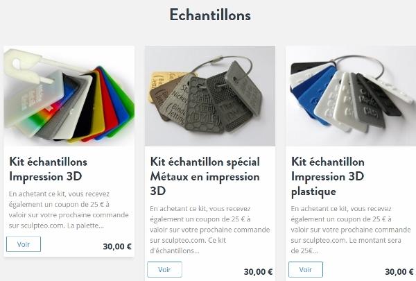échantillons de matériaux d'impression 3D