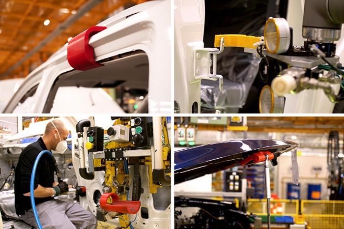 Outils de fixation et gabarits imprimés par Nissan (crédits photo Nissan)